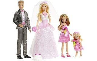 Barbie & Ken Fairytale Wedding Gift Set With Skipper & Chelsea