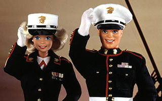 Marine Corps Barbie Doll and Ken Doll Deluxe Set 1992