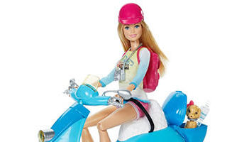 Barbie Pink Passport Travel Doll with Scooter