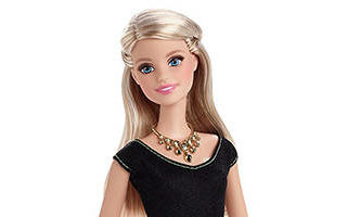 Barbie Style Glam Doll, Black and Pink Leopard Print Dress 2015