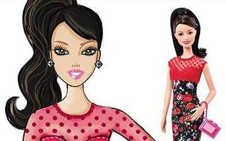 Barbie Fashionistas Rose Print Dress Doll 2015